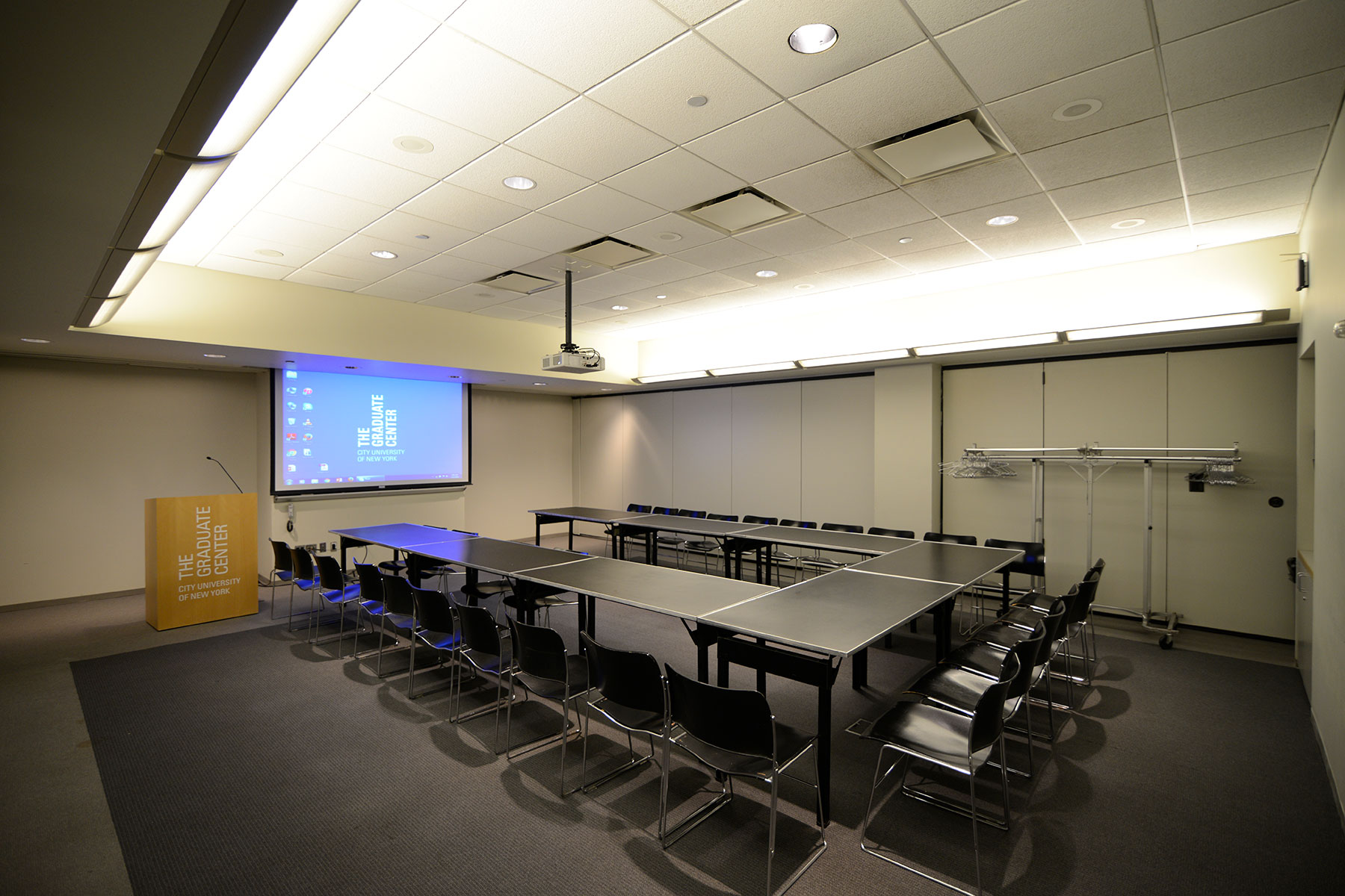 9th Floor Conference Room Suite - Meeting Space in NYC. Room set up for a class or meeting - U-shaped desks.