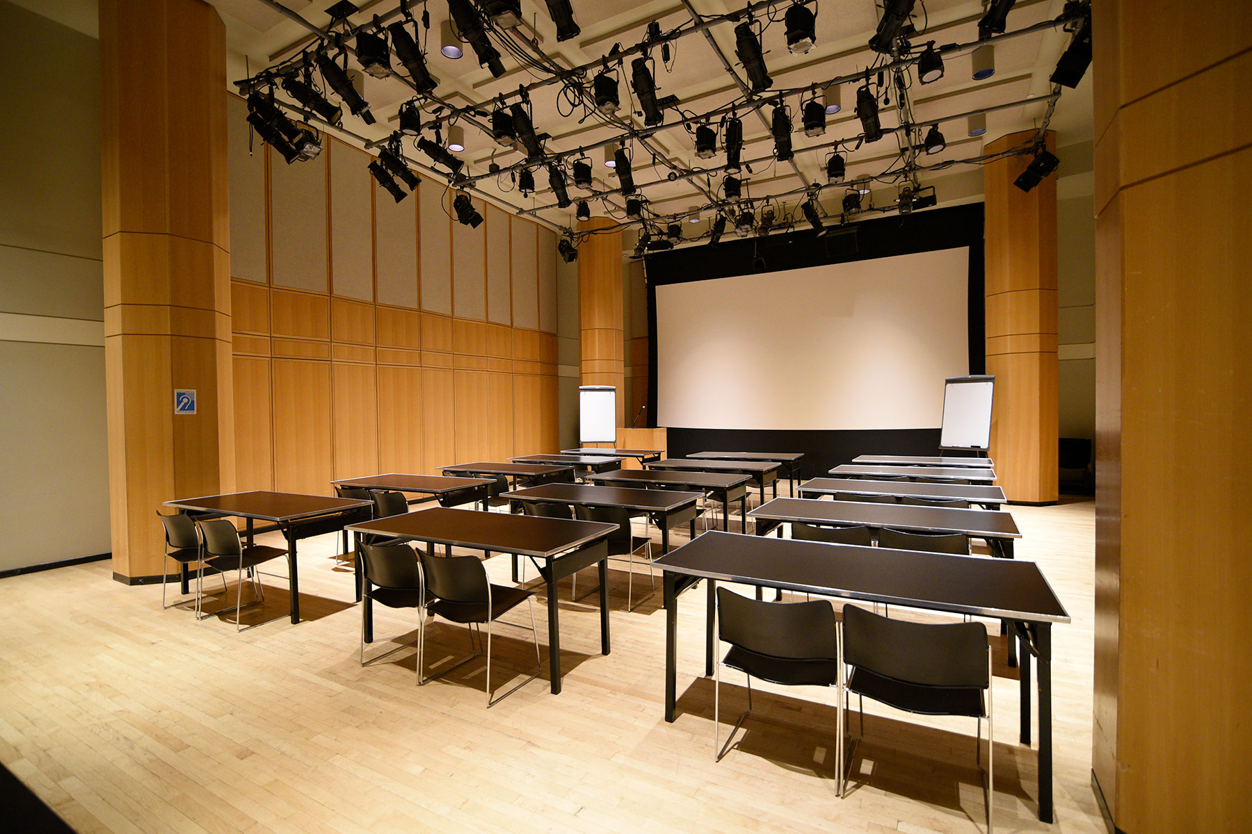 Segal Theatre - Black Box Theater Rental in NYC. Black box theater space set up for class or training.